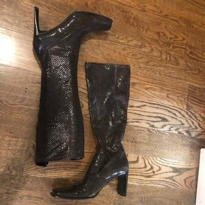 Nine West tall snakelike skin boots